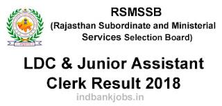 Rajasthan RSMSSB LDC Result 2018