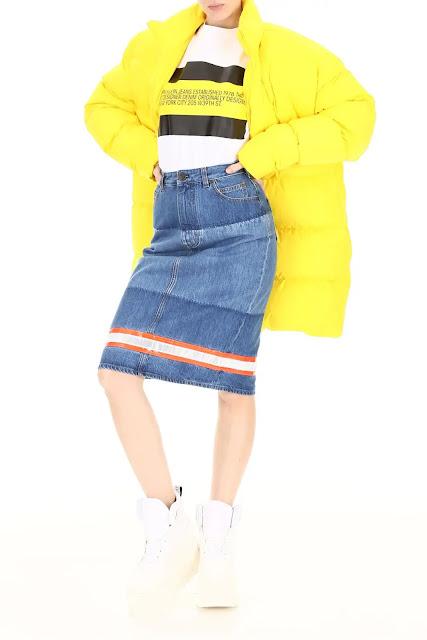 Calvin Klein 205W39NYC washed cotton denim skirt (www.RMNOnline.net)