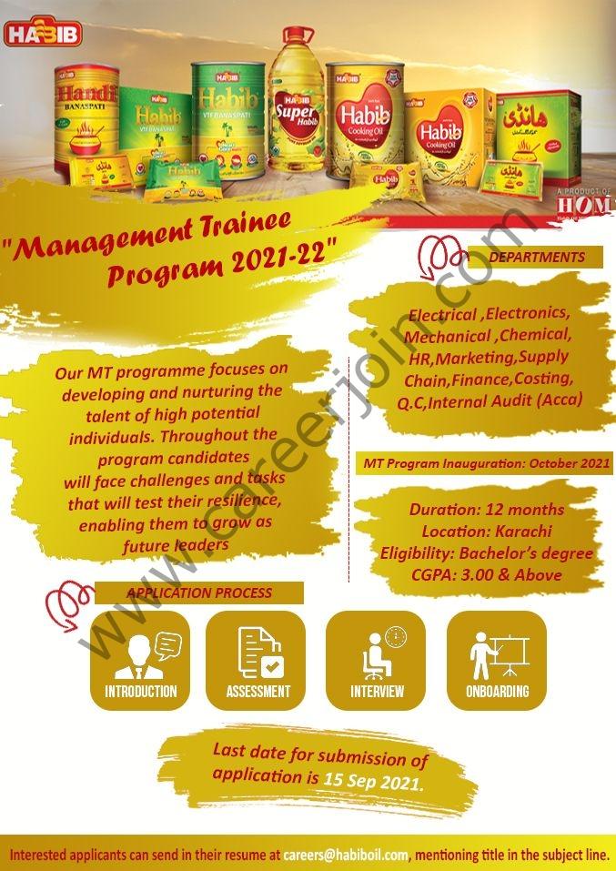 Habib Oil Mills HOM Management Trainee Program 2021-22