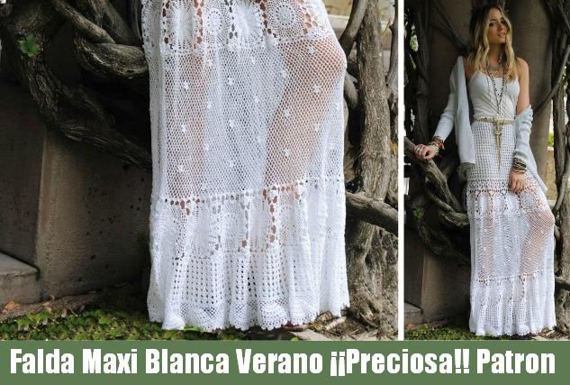Falda Maxi verano Crochet blanca Patron