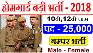 UP Police Recruitment 2018 -- 25000 Home Guard Post