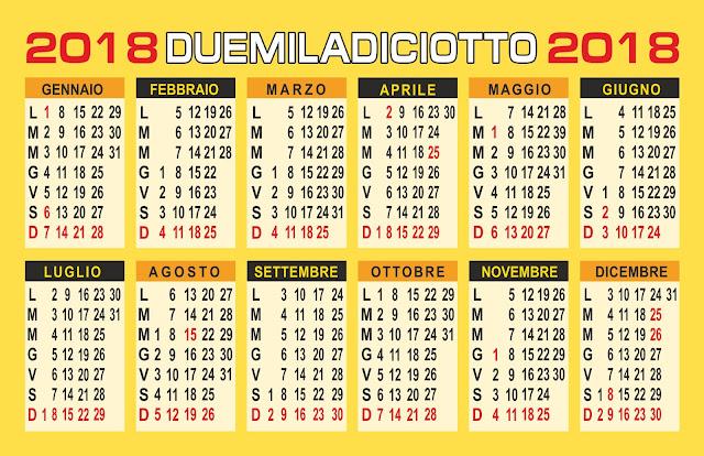 calendario annuale 2018