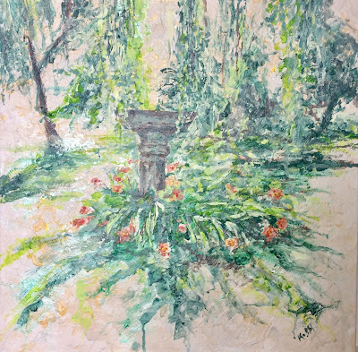 La vasque à Monsec peinte par Karine Babel artiste peinte près de Brantôme