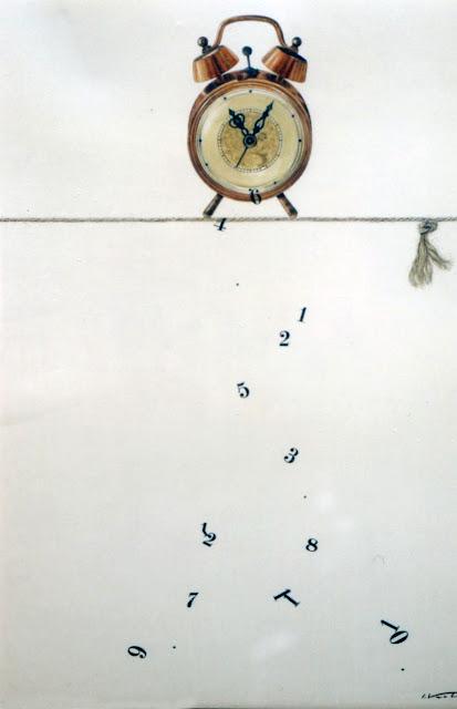 Acuarela surrealista tiempo pintor catalán Isidro Ventura Santamaría