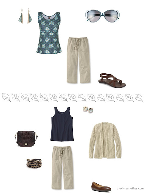 2 ways to style beige linen capris for a summer vacation