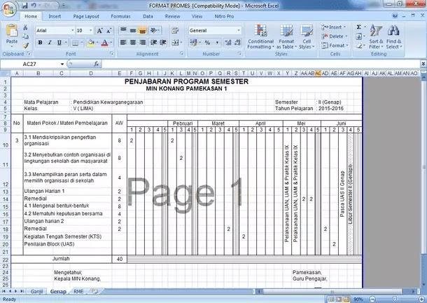 Contoh Format Prota Promes SD MI Kurikulum 2013 Revisi Terbaru