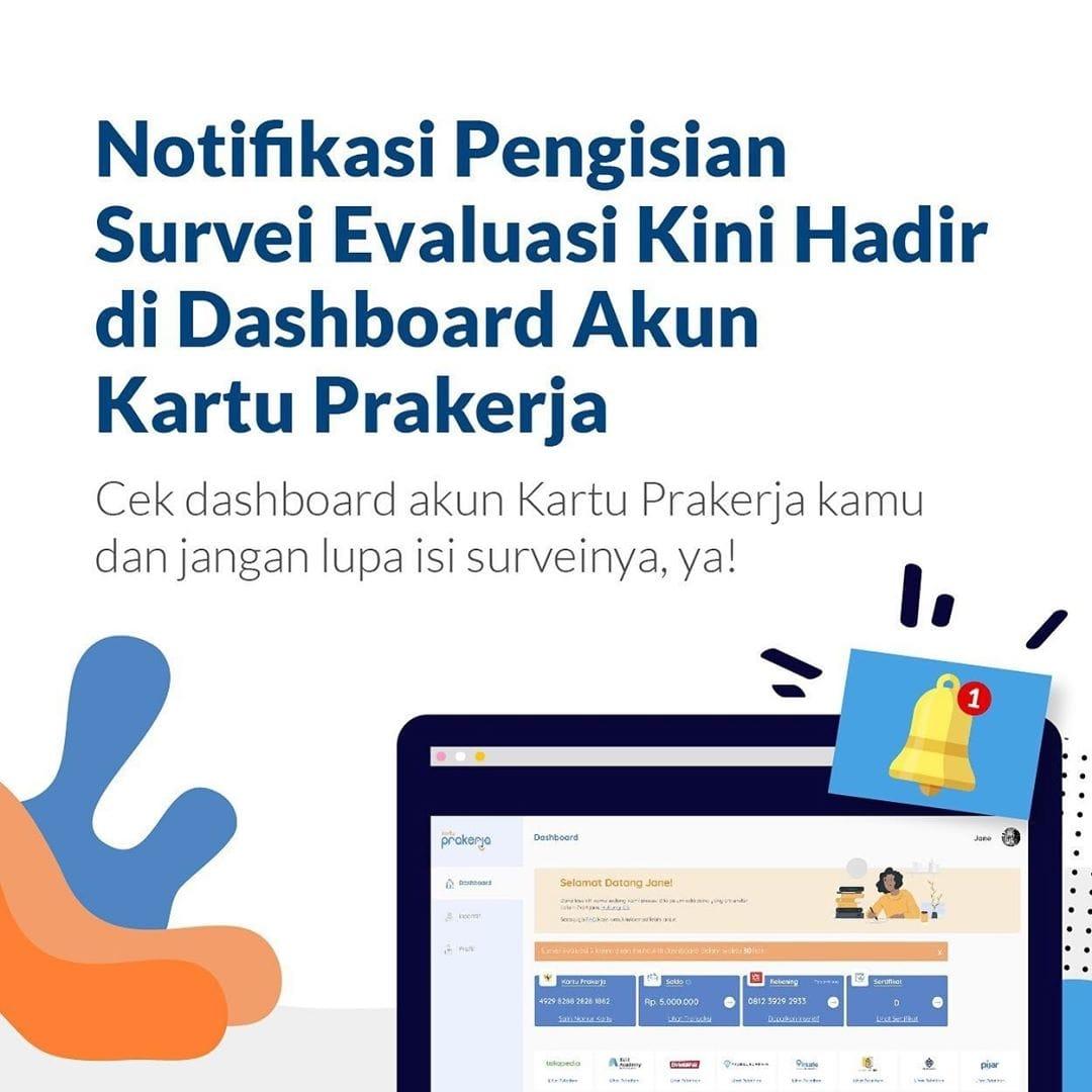 Notifikasi Pengisian Survei Evaluasi Kini Hadir di Dashboard Akun Kartu Prakerja