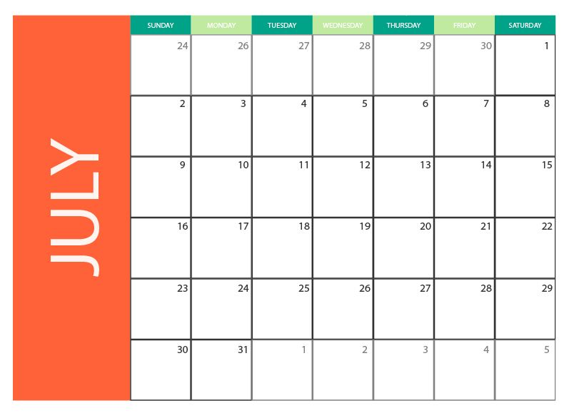 July 2017 Blank Monthly Calendar Free Vector To Download