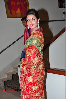 Model Sharon Fernandes Stills in Red Saree at Trendz Exhibition Launch  0046.JPG