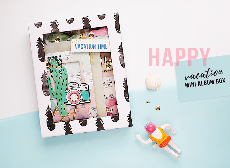 travel journal mini album box by @mojosanti, supplies from @cratepaper