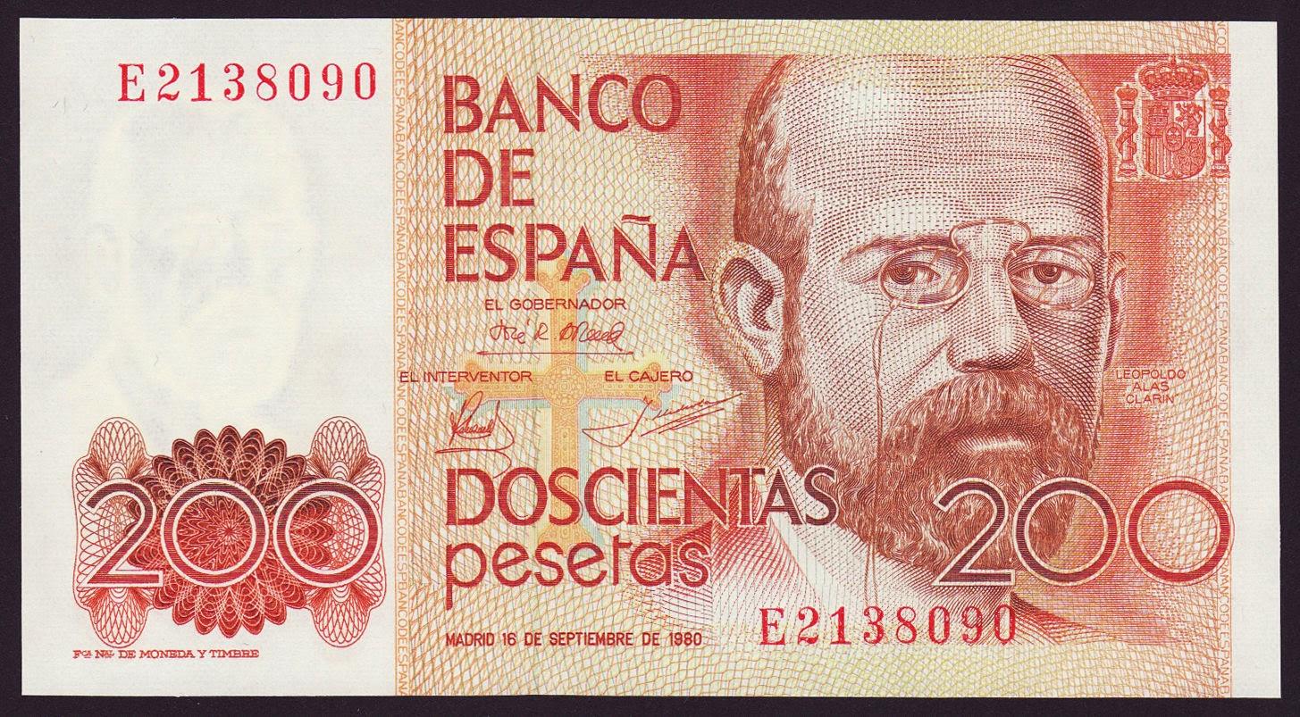 Spain Banknotes 200 Pesetas banknote 1980 Leopoldo Alas