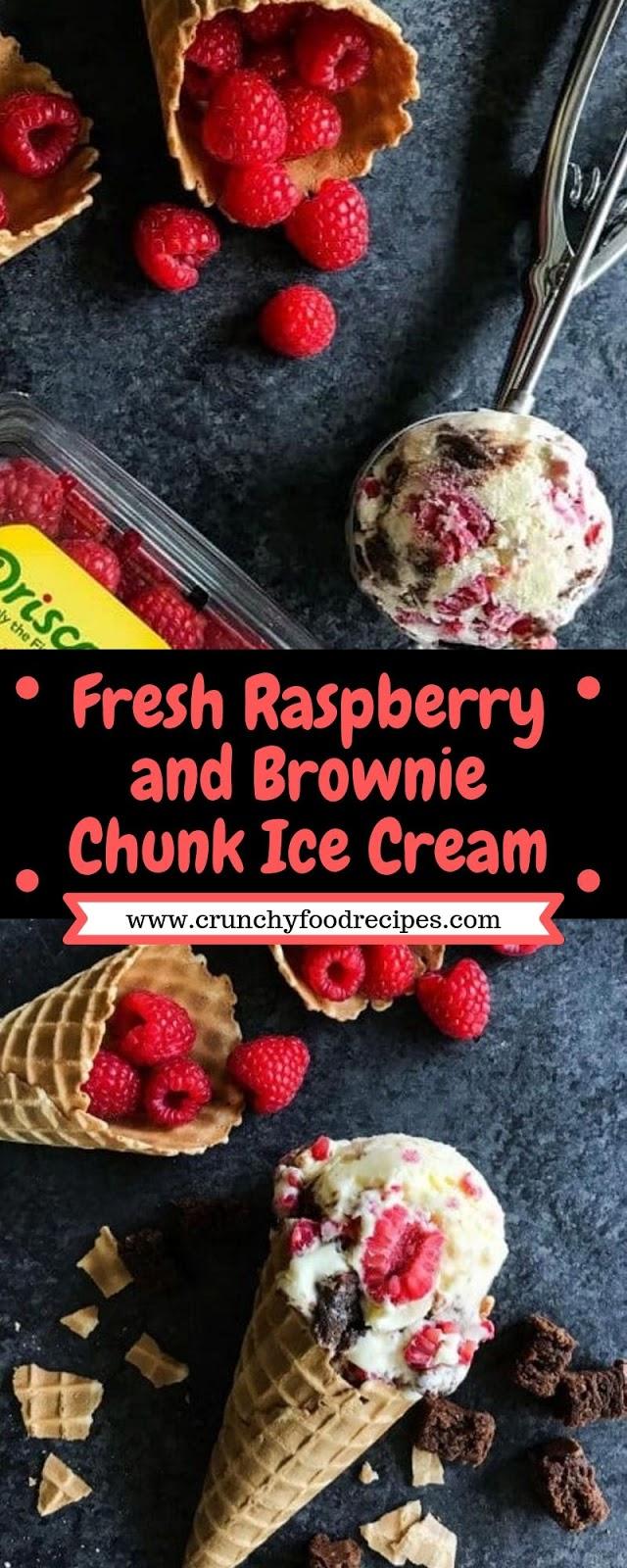 Fresh Raspberry and Brownie Chunk Ice Cream