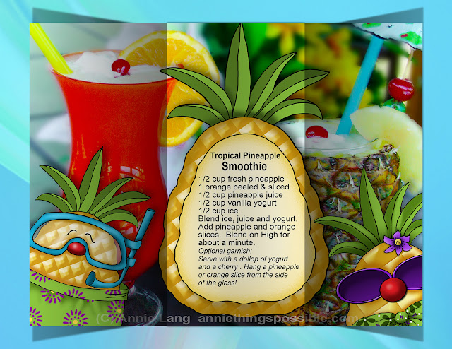 Create your own Sunny Paradise Annie Lang's Tropical Pineapple merchandise, DIY patterns and character clipart