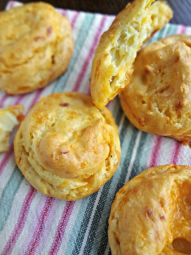 Caramelized Onion and Cheddar Gougères