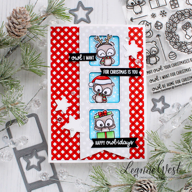 Sunny Studio Stamps: Happy Owlidays Foxy Christmas Santa's Stocking Dies Christmas Themed Cards by Leanne West