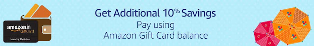 Shop worth Rs.1000 or more using Amazon Gift Card Balance and get Rs.100 back as an Amazon Gift Card