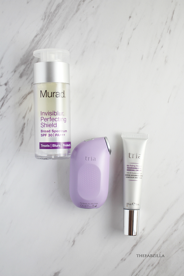 trio eye wrinkle correcting laser, murad invisiblur perfecting shield