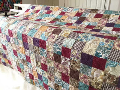 Bonny's Vintage Fabric Squares Quilt,  quilted by Frances Meredith, Fabadashery Longarm Quilting