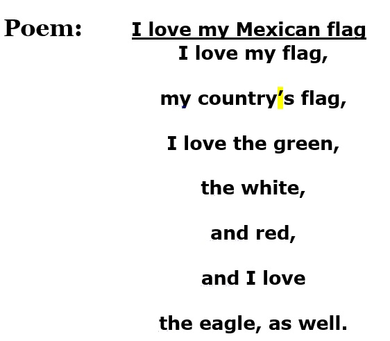 Come To The English Class Poem I Love My Mexican Flag 1