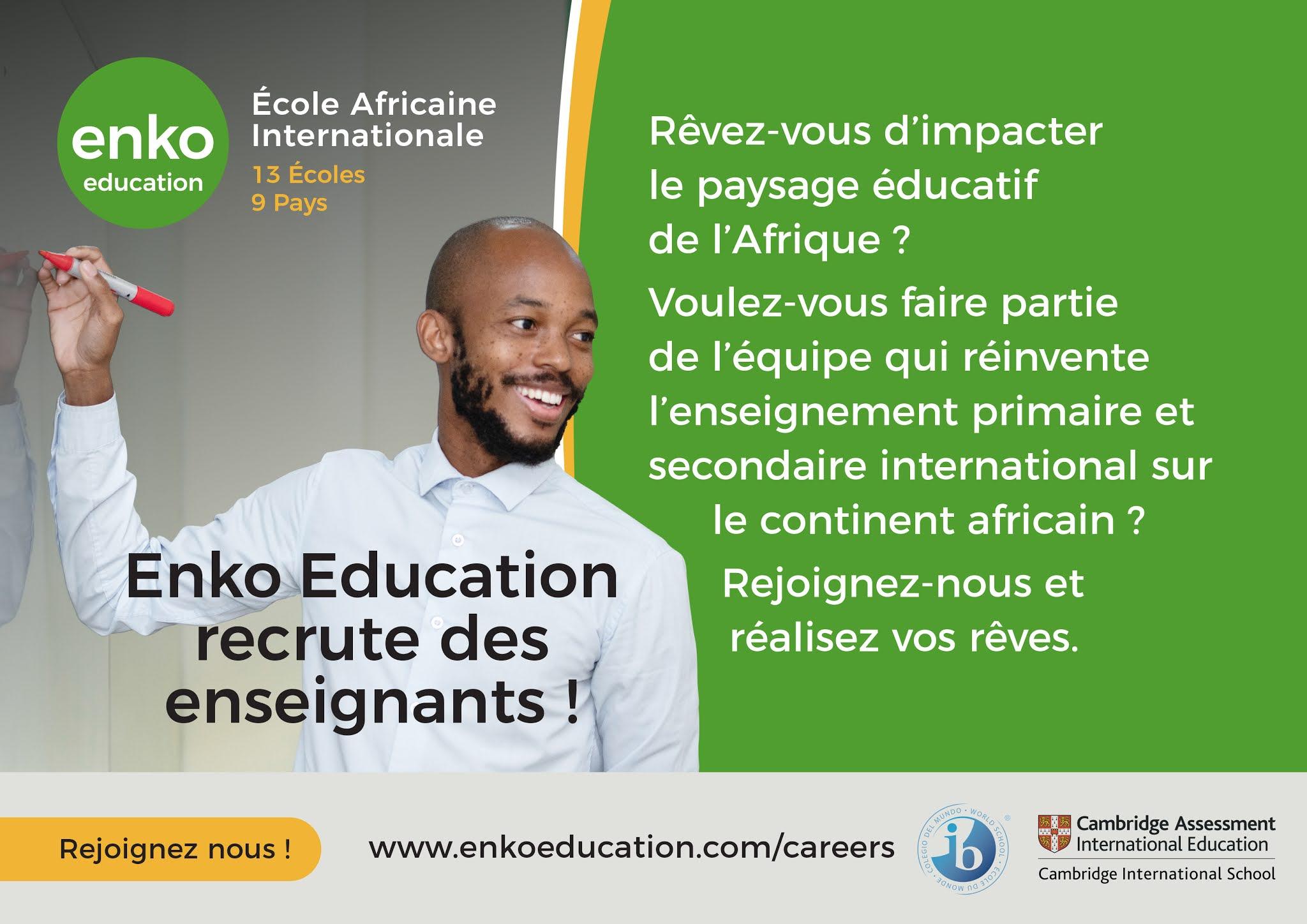 Enko Education recrute 60 Enseignants