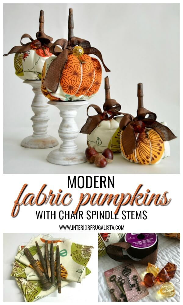 Funky retro mid-century style fabric pumpkins with chair spindle stems that have a unique modern edge in traditional Fall colors for fall decorating. #fabricpumpkins #diypumpkins #fallpumpkins #falldecorideas
