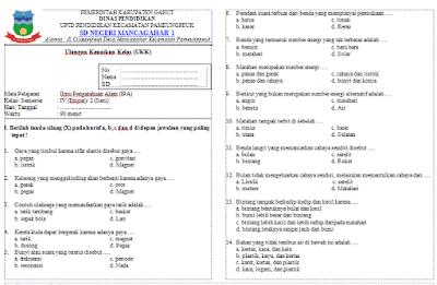 Soal UKK/UAS IPA Kelas 4 Semester 2