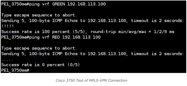 Cisco 3750 test of MPLS-VPN Connection