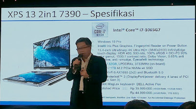 William Hartoyo, Product Marketing Manager Dell Indonesia memjelaskan spesifikasi Dell XPS 13 2-in-1 7390