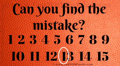 Answer to Find the Mistake Puzzle Observation Test