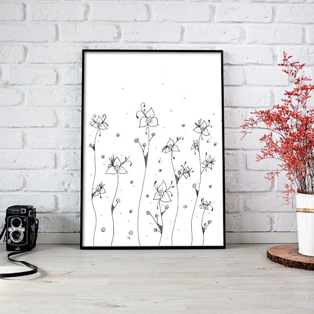 Doodle Rose Flower Art Ink