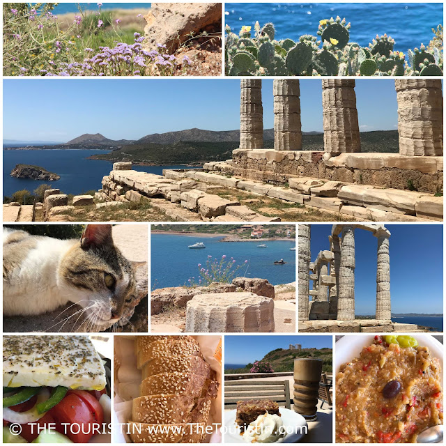 Food and cat at restaurant next to the Temple of Poseidon in Sounion near Athens in Greece