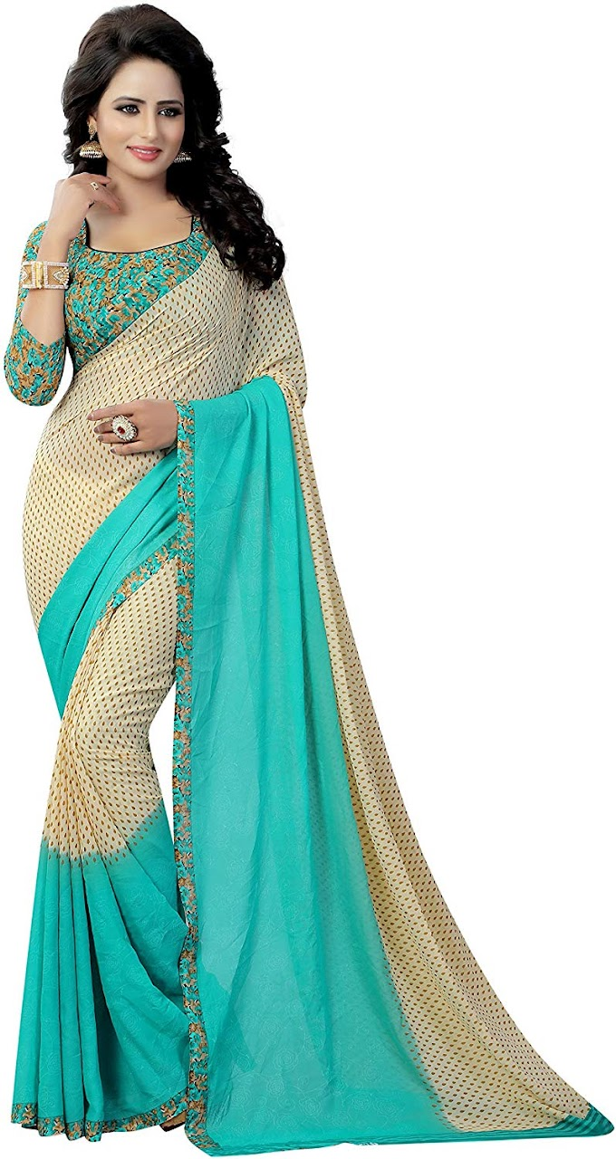 KSH Trendz Soft Georgette Crepe Blend Saree With Blouse Piece For Women & Girs (KSH PADING RAMA_Multi-coloured_Free Size)