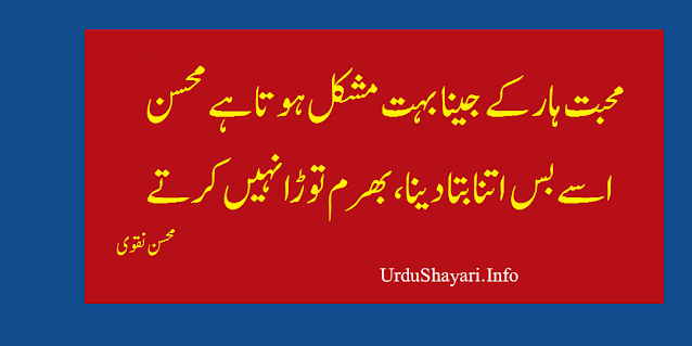 mohsin naqvi shayari in urdu mohabbat poetry on haar  love sad