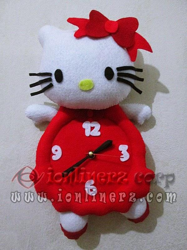 Jam Dinding Flanel Karakter Kartun Boneka Hello Kitty Red