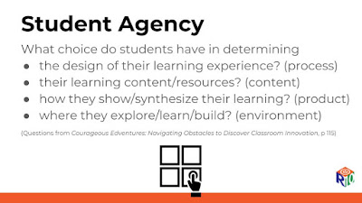 What choice to students have in choice of content, process, product, environment?