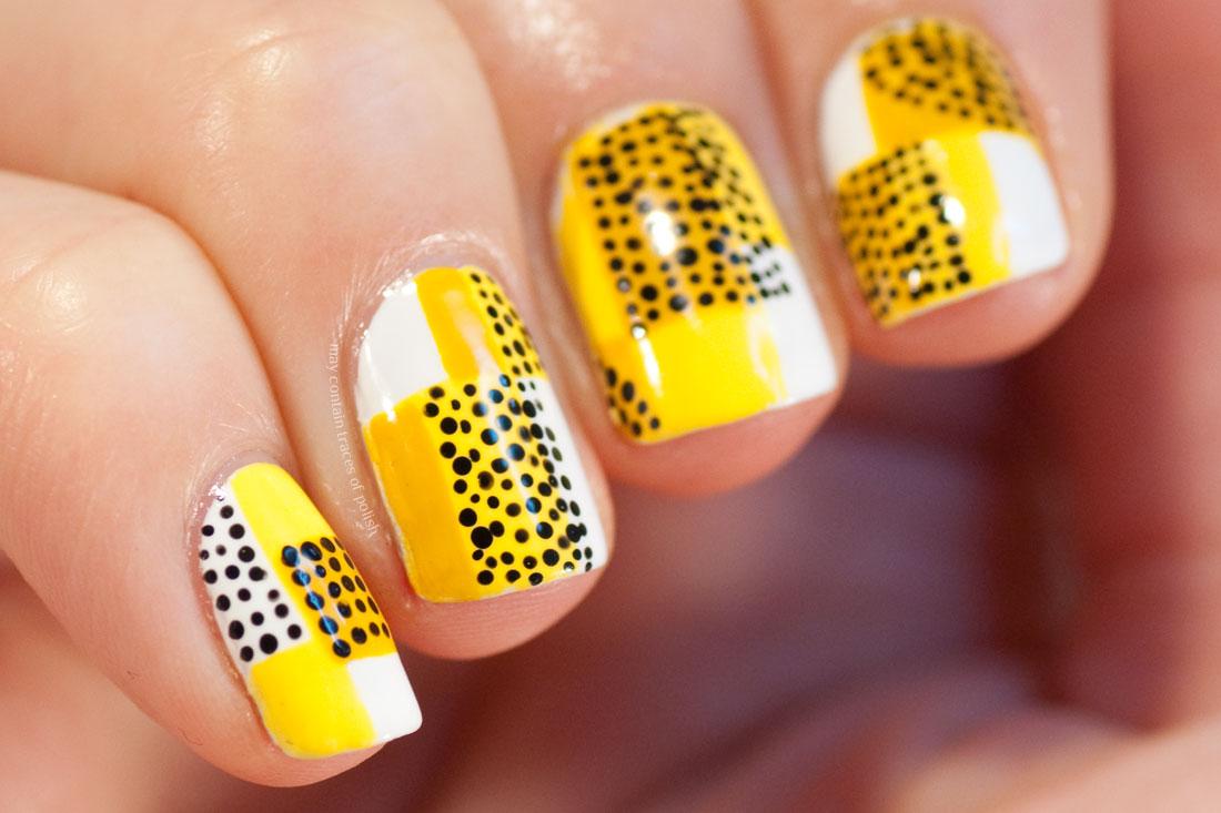 Stylish Retro Mid Century Geometric Manicure - yellow, black and white