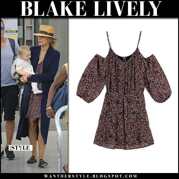 Blake Lively in printed mini dress paige, blue cardigan and black mules gucci september 10 2017 airportstyle