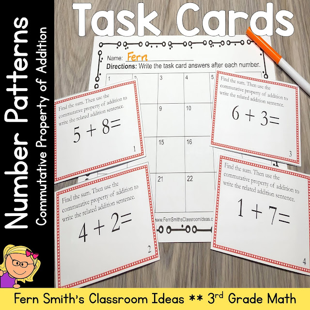 Click Here For These 3rd Grade Go Math 1.1 Commutative Property of Addition Number Patterns Task Cards #FernSmithsClassroomIdeas