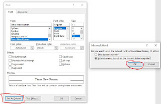 "ubah font secara bawaan dengan tombol ""set as default"""