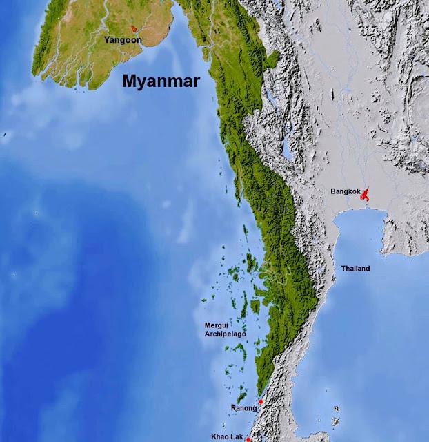 Bản đồ phía nam Myanmar, bên trái tiếp giáp vùng biển Andaman, bên phải tiếp giáp Thái Lan.