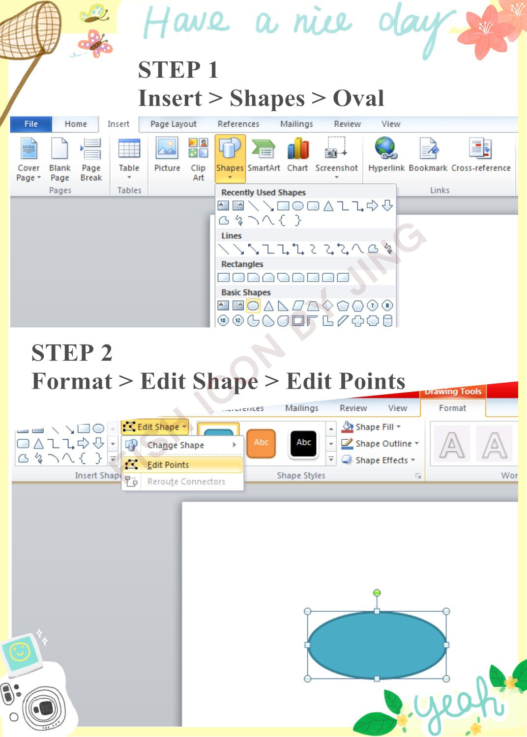 How To Draw A Fish Icon Using Shapes In Microsoft Word 2010 My