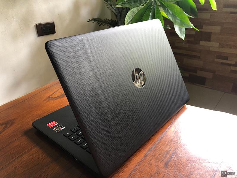 Sleek, textured black design of the HP Notebook