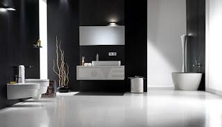 Baño blanco con negro