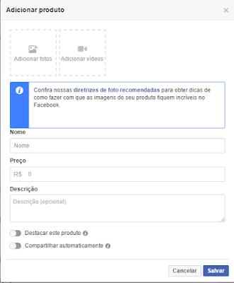 Adicionar Um Produto - Seção Loja das Páginas - Facebook E-commerce