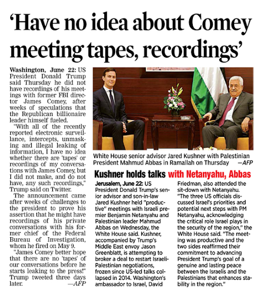 Trump - not aware of Comey Meeting tapes