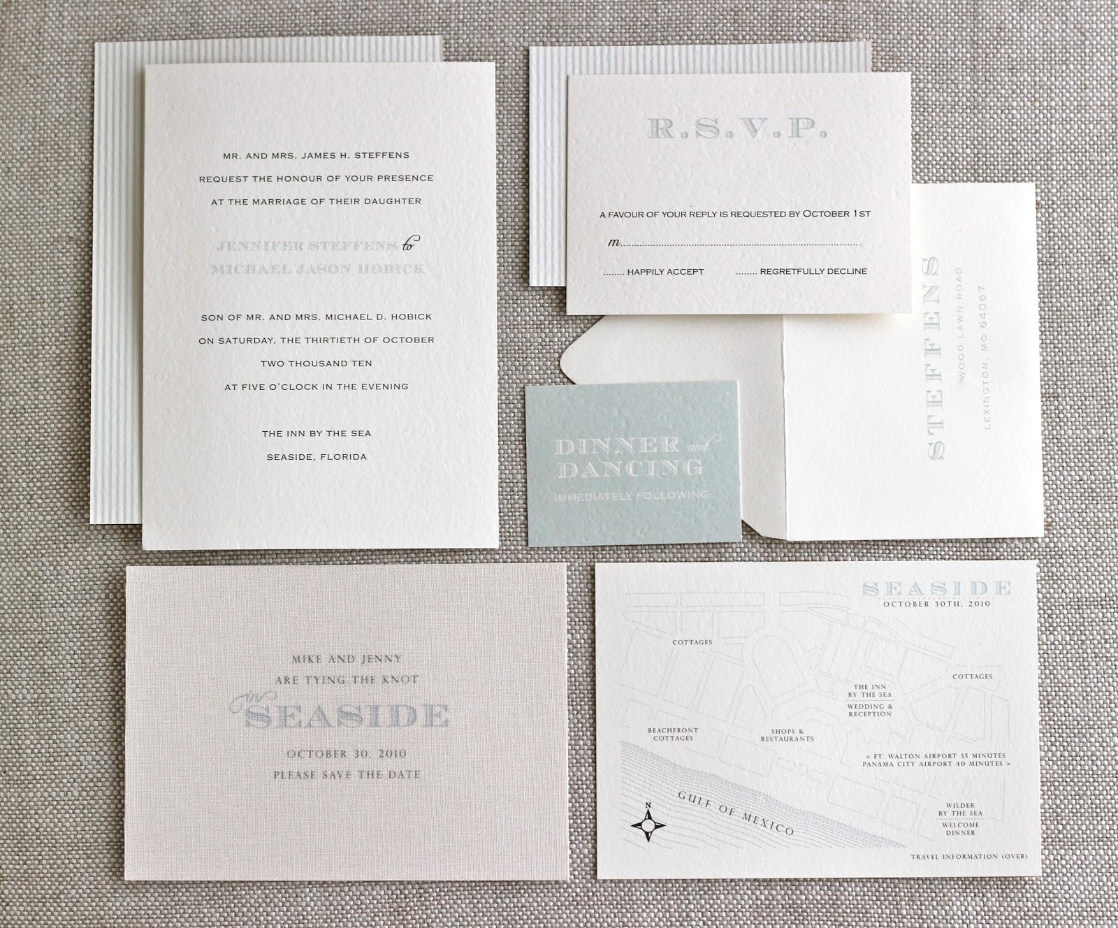 Jenny Steffens Hobick Our Wedding Invitations Seaside