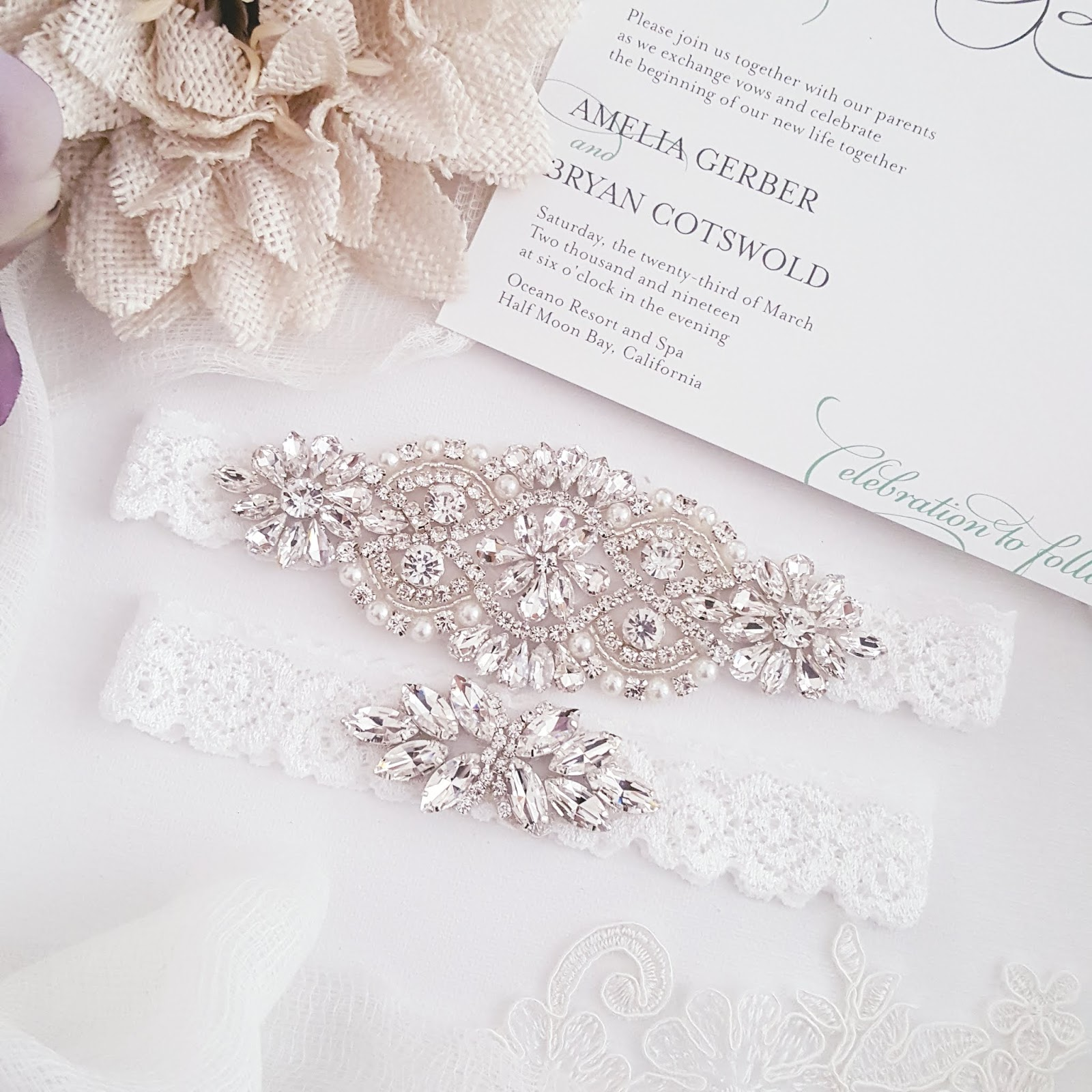 This handmade beaded crystal garter set is one of many wedding accessories from She Wore Flowers.