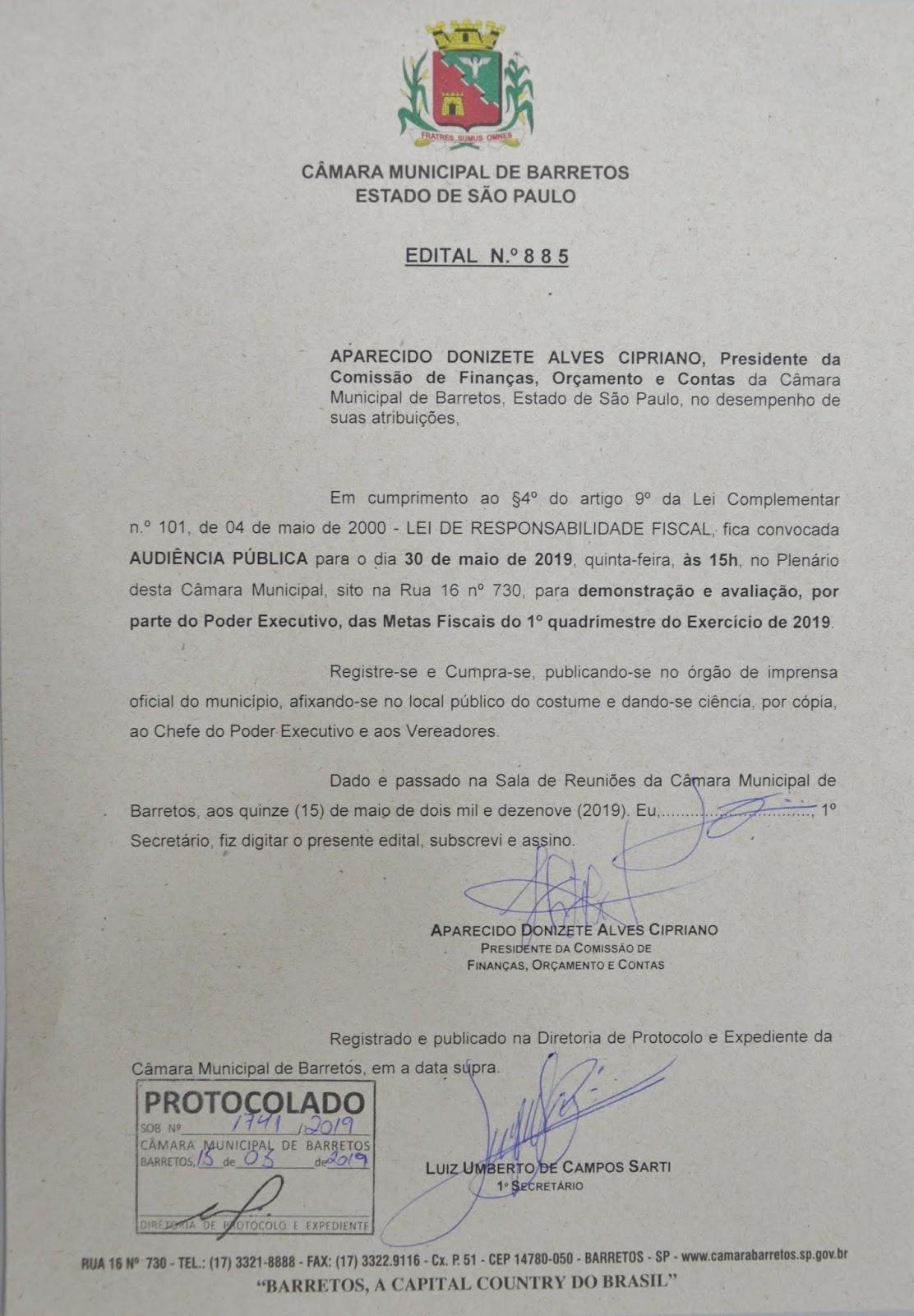 Prestação de contas da Prefeitura são analisadas na Câmara Municipal de Barretos-SP em 30/05/2019 às 15hsoo