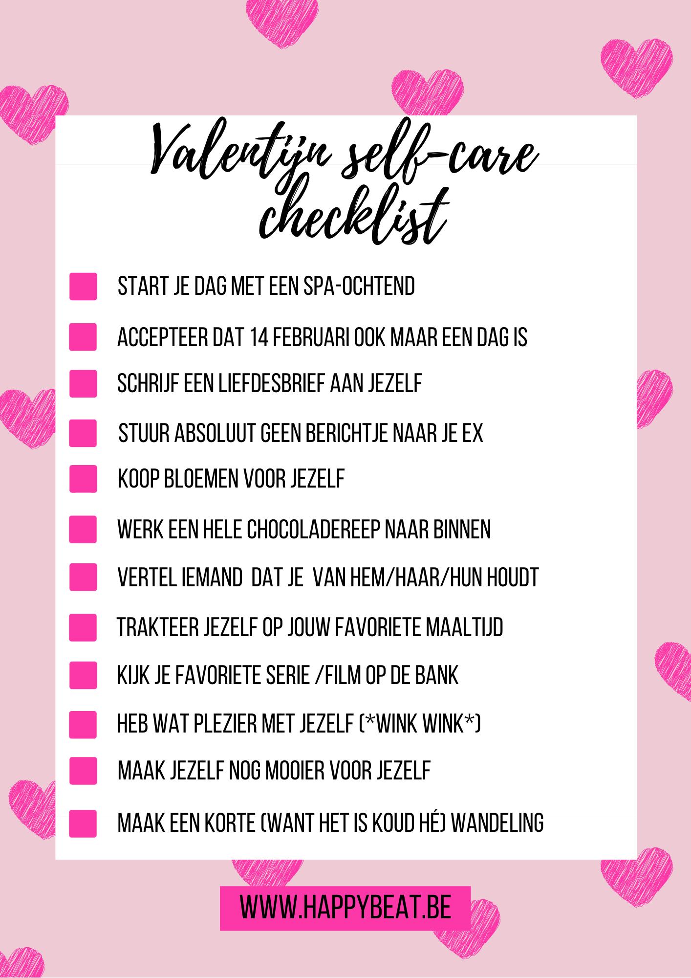 Checklist boordevol items die jij als single kan doen op Valentijnsdag