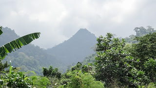 Green mountains all over Sao Tome